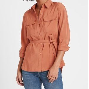 Belted Utility High Low Shirt